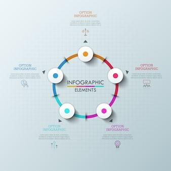 Diagrama redondo con cinco elementos multicolores, flechas apuntando a pictogramas de línea delgada y cuadros de texto. concepto de elemento de interfaz para aplicación web.