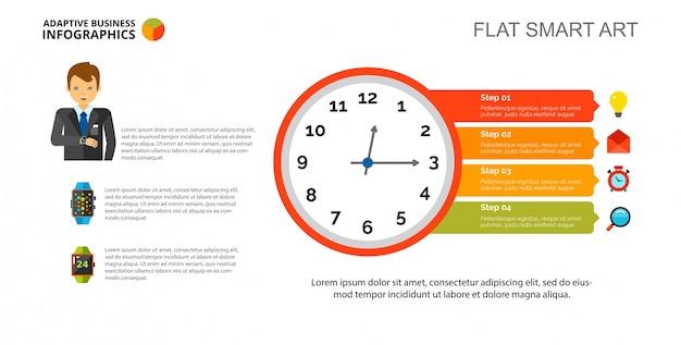 Diagrama de reloj plantilla de diapositiva
