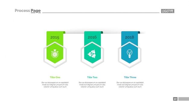 Diagrama de tiempo con diapositiva de tres elementos