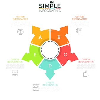 Diagrama tipo anillo dividido en cinco sectores iguales con flechas que apuntan a iconos de líneas finas y cuadros de texto. concepto de cinco direcciones para elegir.