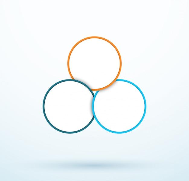 Diagrama de tres círculos de infografía segmentos vinculados