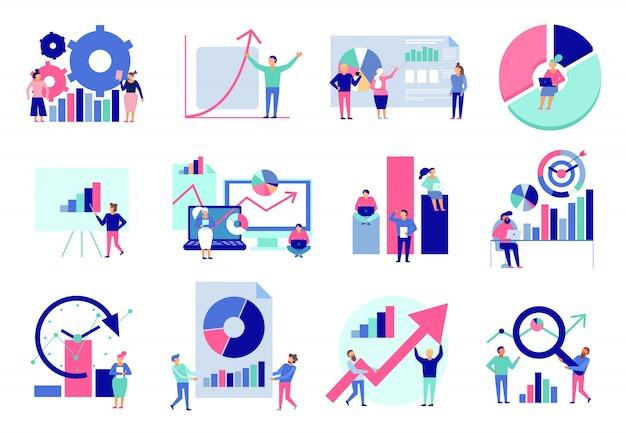Diagramas de análisis de datos resultados gráficos herramientas de análisis de presentación técnicas técnicas toma de decisiones colección de iconos planos aislado