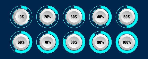 Diagramas de barra de progreso del cargador porcentual circular de carga mejor para infografía