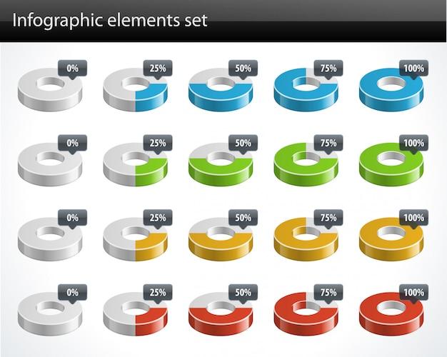 Diagramas circulares 3d y elementos de diseño de vector de porcentaje