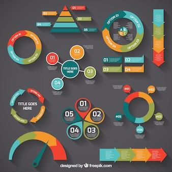 Diagramas de colores infográficos