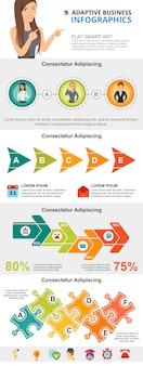 Diagramas de gestión establecidos para plantillas de diapositivas de presentación