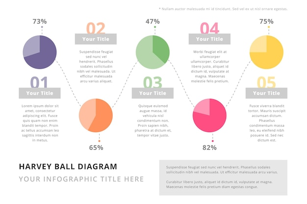 Diagramas de harvey ball planos - infografía