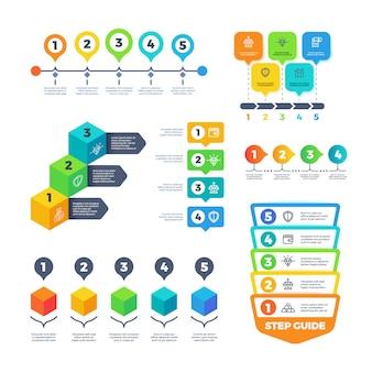 Diagramas de infografía. gráficos de estrategia financiera para presentación de negocios. menú de planificación y conjunto de vectores de línea de tiempo