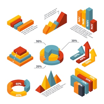 Diagramas isométricos del vector para infografía de negocios