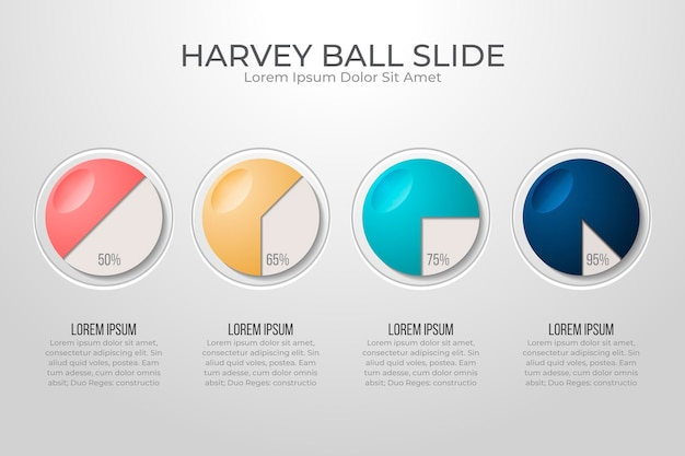 Diagramas realistas de harvey ball - infografía