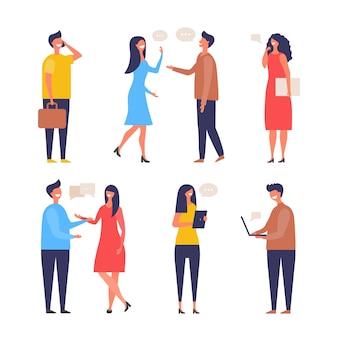 Diálogo de personas. comunicación personajes web chat discutir empresario discusión activa imágenes planas