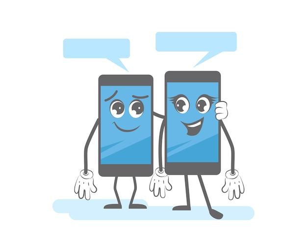 Diálogo de teléfono inteligente. gadgets de dibujos animados hablando juntos dispositivos móviles digitales personajes de habla inteligente. teléfono inteligente de diálogo, ilustración de comunicación telefónica