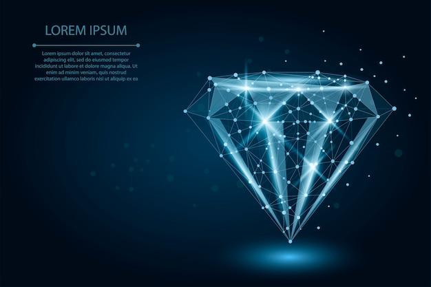 Diamante de baja poli compuesto por puntos y líneas.