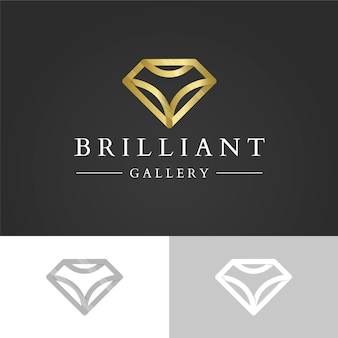 Diamante brillante logo de diamante dorado