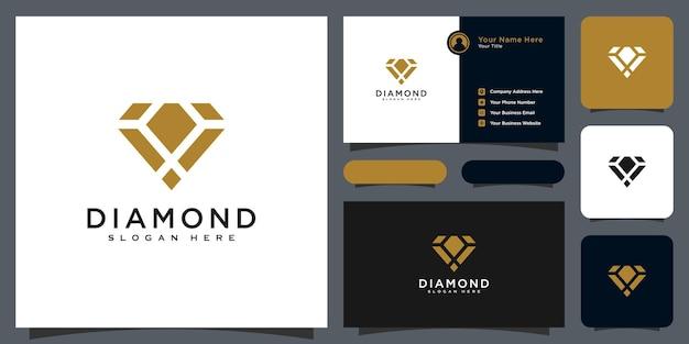 Diamante logo vector diseña línea mono con tarjeta de visita