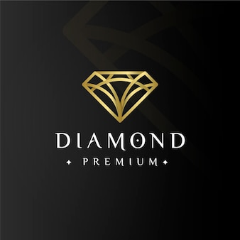 Diamante premium elegante logo dorado