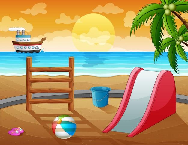 Una diapositiva con juguetes en la ilustración de la playa