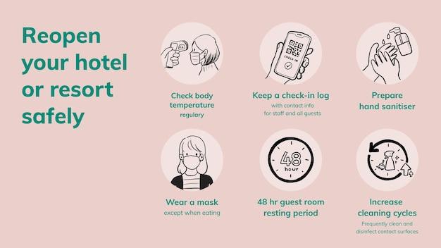 Diapositiva de powerpoint de covid 19, el hotel reabre las medidas de seguridad