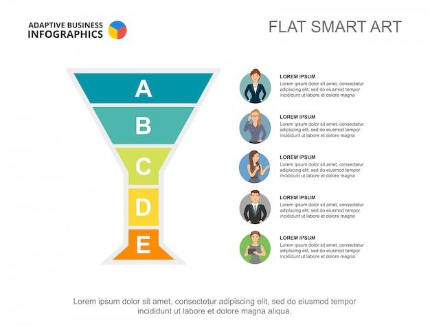 Diapositiva de presentación con gráfico de jerarquía e iconos de caracteres. plantilla editable