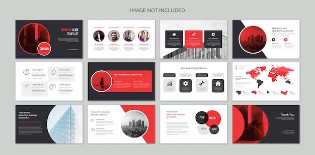 Diapositivas de presentación empresarial con elementos infográficos
