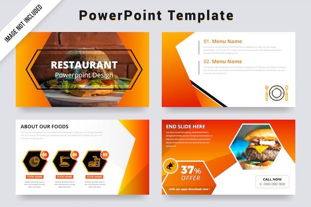 Diapositivas de presentación de orange color restaurant powerpoint con foto
