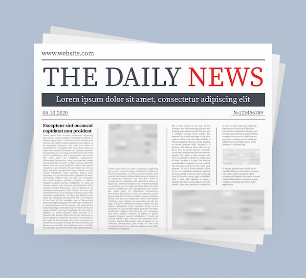 De un diario en blanco. periódico completo totalmente editable con máscara de recorte. ilustración de stock