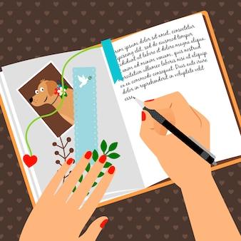 Diario de chicas con secretos de escritura.