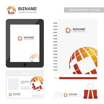 Diario de diseño de logotipo de la empresa y vector de elementos estacionarios