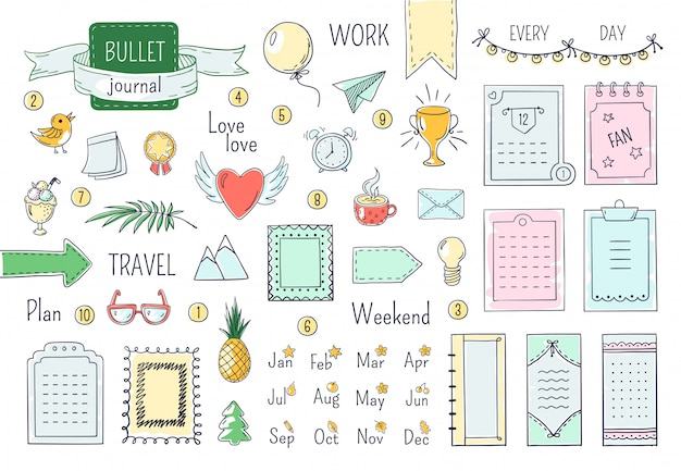 Diario elementos dibujados a mano. doodle viñetas, color cuaderno horario calendario diario línea garabato elementos. conjunto de marcos de doodle