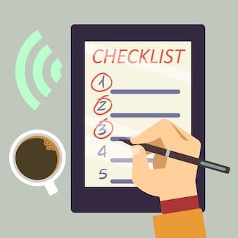 Diario con lista de verificación - organizar