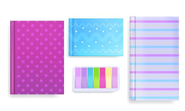 El diario y la nota observan la ilustración del libro o del cuaderno con el ornamento del color o la cubierta del modelo.
