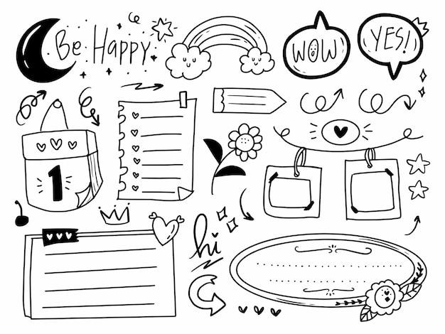 Diario y planificador de viñetas en estilo de línea