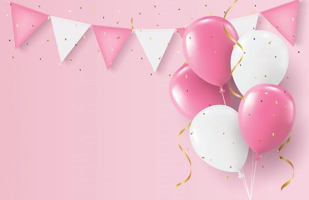 Días de fiesta día de san valentín, globos rosados y blancos y confeti de oro, concepto de fiesta, 3d realista.