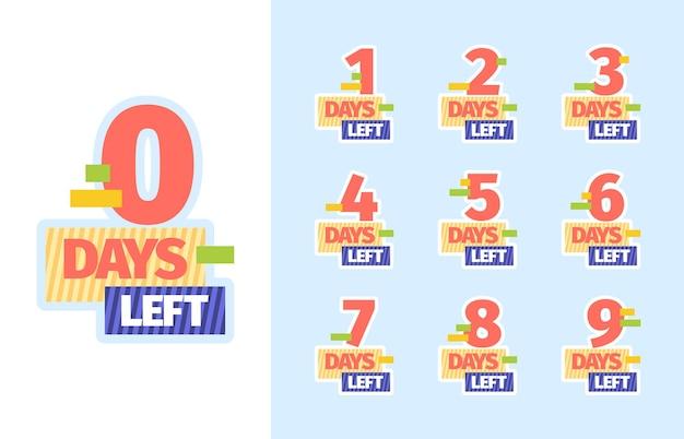 Días restantes. límites de tiempo de cuenta regresiva insignias comerciales promocionales con números para publicidad en el mercado de venta