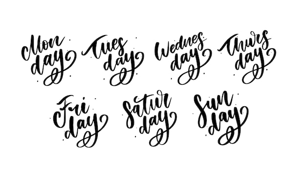 Días de semana escritos a mano y conjunto de símbolos.