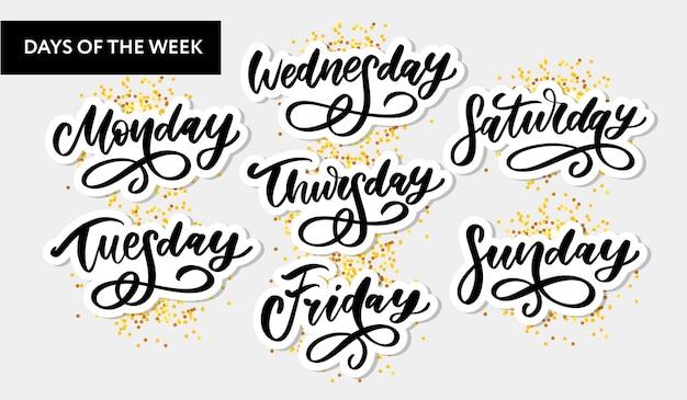 Días de la semana escritos a mano y set. fuente de tinta pegatinas para planificador y otros. clipart. aislado.