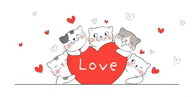 Dibuja un abrazo de gato corazones rojos para el día de san valentín.