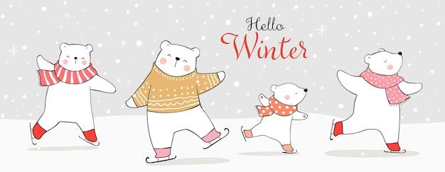 Dibuja un animal de banner en patines de hielo en la nieve en invierno y navidad.