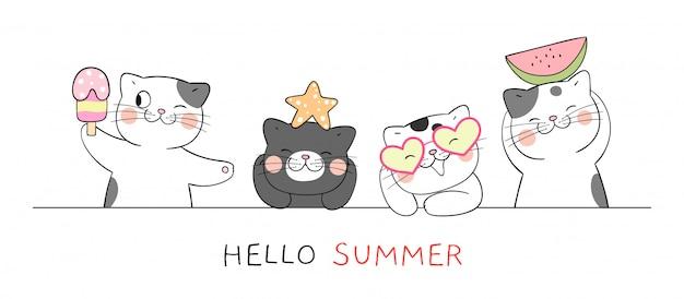 Dibuja banner gato gracioso para la temporada de verano.
