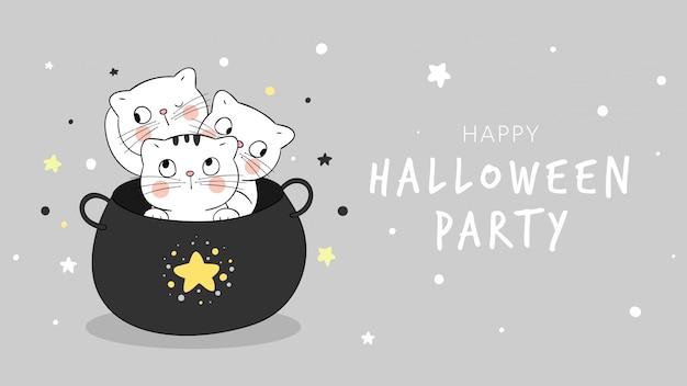 Dibuja un banner de gato en la noche de estrellas del caldero mágico. para halloween.