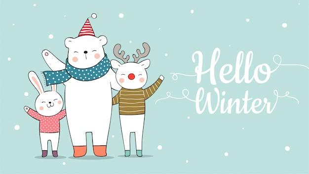 Dibuja banner lindo animal ciervo oso y conejo para navidad.