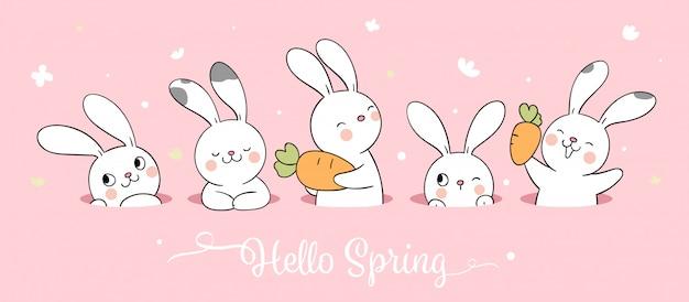 Dibuja un conejito blanco sobre un pastel rosado para la temporada de primavera.