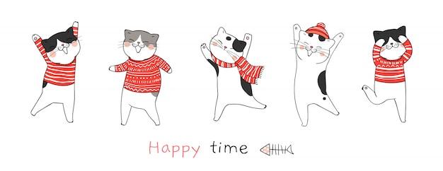 Dibuja la danza del gato para el día de navidad y año nuevo.