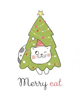 Dibuja gato con árbol para el día de navidad