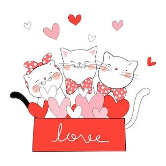 Dibuja gato en caja de regalo color rojo para el día de san valentín.