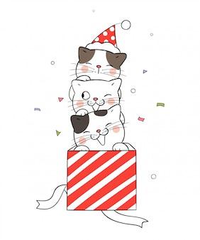 Dibuja un gato en una caja de regalo roja para el día de navidad