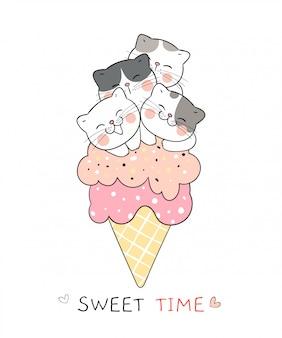 Dibuja un gato en conos de helado. color dulce.