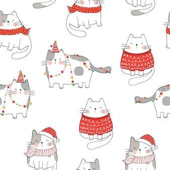 Dibuja un gato divertido de patrones sin fisuras para la navidad de invierno.