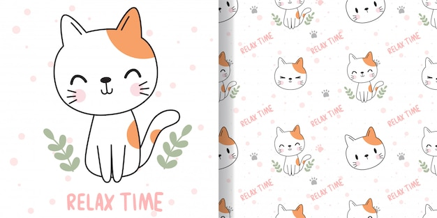 Dibuja gato feliz. imprima patrones sin fisuras y tarjetas de felicitación para niños textiles de tela.