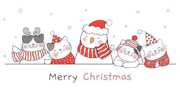 Dibuja un gato gracioso en la nieve con un muñeco de nieve.